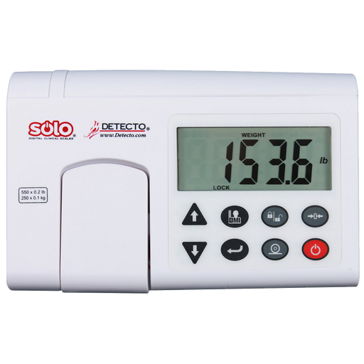Cardinal Detecto solo-AC 550 lb. Digital Scale with Mechanical In-Line Height Rod and AC Adapter