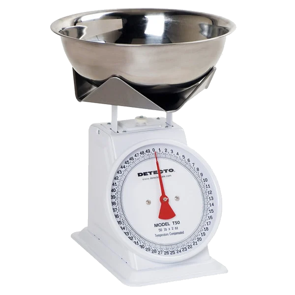 Cardinal Detecto T25B 25 lb. Mechanical Portion Control Dial Scale with SS Bowl / Folded Platform Edges