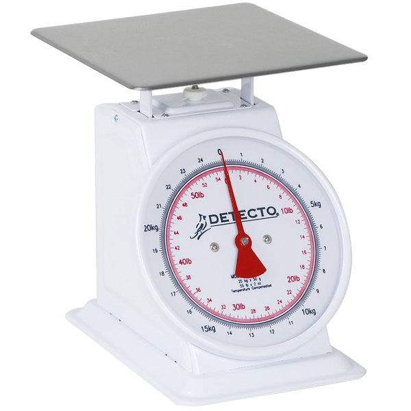 Cardinal Detecto T-50-KP 110 lb. / 55 kg. Mechanical Portion Control Dual Reading Dial Scale