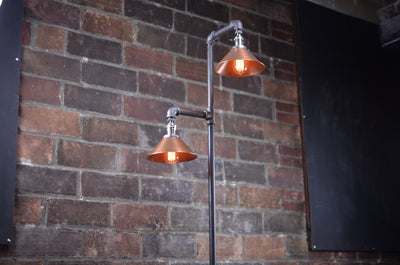 Copper Shade Floor Lamp - Industrial Floor Lamp -  Edison Bulb - Industrial Decor