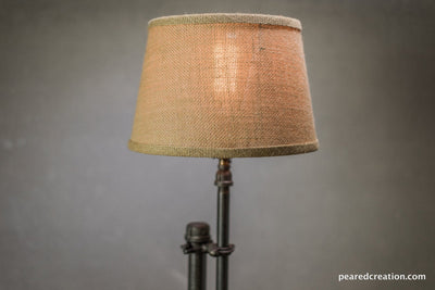 Burlap Shade Lamp - Table Lamp - Edison Table Lamp  - Industrial Lighting - Iron Pipe - Edison Bulb - Industrial Table Lamp