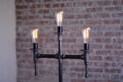 Floor Lamp Industrial - Industrial Furniture - Bare Bulb Edison - Gothic Floor Lamp - Steampunk Lamps -