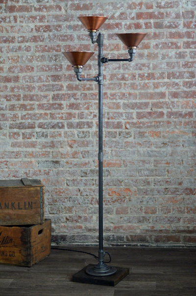 Torchiere Floor Lamp - Copper Shade - Industrial Floor Lamp - Rustic Copper - Pipe Floor Lamp - Industrial Style Furniture