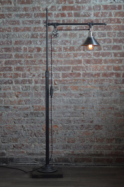 Industrial Standing Lamp - Reading Floor Lamp - Pipe Lamp - Steel Shade - Industrial Furniture