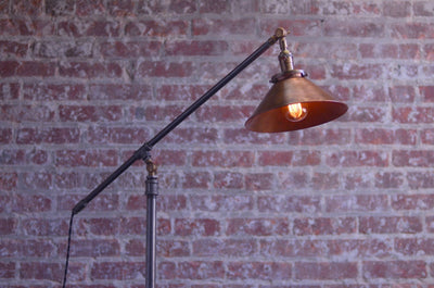 Articulating Floor Lamp - Floor Lamp - Edison Floor Lamp  - Industrial Lighting - Iron Pipe - Edison Bulb - Industrial Furniture
