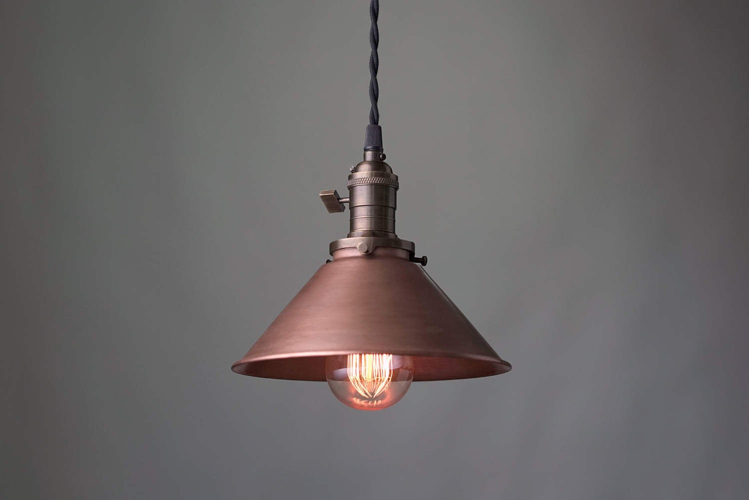 Beau Aged Copper Pendant   Industrial Pendant Light   Copper Shade   Ceilin    Peared Creation