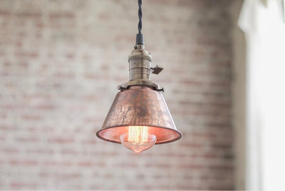 Pendant Lights - Aged Copper - Metal Shade -  Hanging Pendant Light - Industrial Shade Pendant