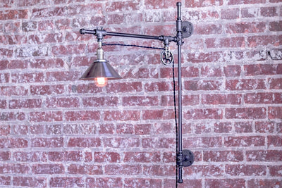 Industrial Wall Sconce - Adjustable Black Iron Pipe Sconce - Pulley Scone - Adjustable Long Swing Arm