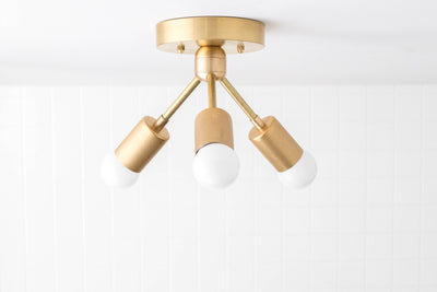Modern Ceiling Light - Brass Fixture - Semi Flush Lamp - Minimalist Lighting - Model No. 6885