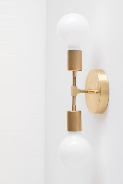 Gold Wall Sconce - Modern Wall Lamp -  Industrial Light - Bare Bulb Sconce - Vanity Lighting - Bathroom Fixture - Model No. 5301