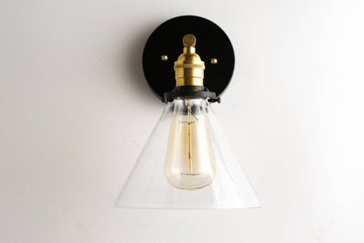 Sconce - Modern Wall Sconces -  Black Gold Wall Light - Brass Light Fixture - Modern Farmhouse - Model No. 9154