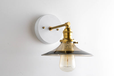 Edison Sconce - Wall Sconces  -  Smoked Glass - Brass Lamps - Sconce Lighting