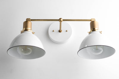 Vanity Light Fixture - White Shade Light - Modern Farmhouse Lighting - Unfinished Brass Wall Light - Wall Lighting - Model No. 9018