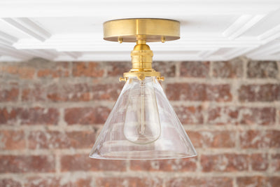 Modern Flush Lamp - Ceiling Light - Farmhouse Lighting - Glass Shade - Brass Semi Flush Lamp - Model No. 4656