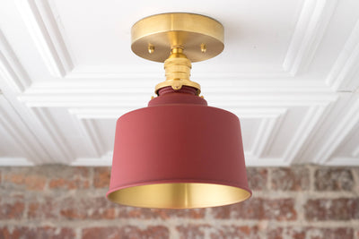 Brass Ceiling Lamp - Red Gold Light Fixture - Bucket Light - Ceiling Lights - Hardwired Lighting - Model No. 2813