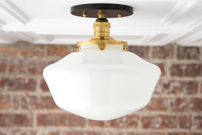 Schoolhouse Fixture - Opal Ceiling Light - Light Fixtures - Mounted Lamp - Mid Century Opal Glass - Model No. 5754