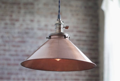 Pendant Lights - Aged Copper - Metal Shade - Hanging Pendant Light - Industrial Shade Pendant - Model No. 6290