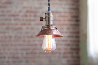 Pendant Lights -Aged Copper - Metal Shade - Hanging Pendant Light - Industrial Shade Pendant