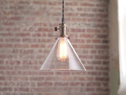 Modern Pendant Light - Glass Shade - Edison Bulb Pendant - Hanging Light Fixtures - Pendant Lamp - Pendants