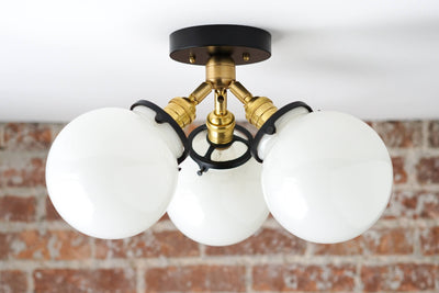 Globe Lights - Semi Flush - Mid Century Modern - Brass Ceiling Lamps - Model No. 0210