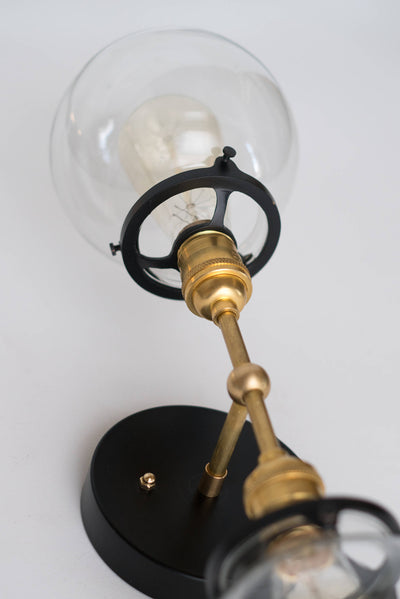 Vanity Lighting - Modern Vanity Lamp - Industrial Lighting - Brass Black Vanity -  Bathroom Lights - Globe Sconce - Model No. 7350