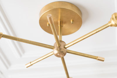 Edison Chandelier - Modern Sputnik Lamp - Industrial Lighting - Brass Modern Fixture - Flush Ceiling Light - Model No. 2486