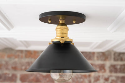 Ceiling Flush Lamp - Black Gold Ceiling Mount - Industrial Fixture - Ceiling Lights - Hardwire - Model No. 7046