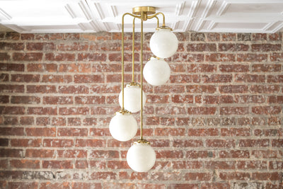 Modern Hanging Light - Globe Chandelier - Mid Century Fixture - Brass Light - Opal Glass - Large Chandeliers - Model No. 1809