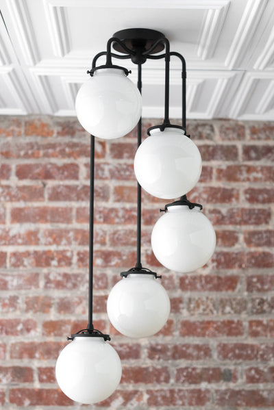 Black Chandelier - Globe Light - Hanging Ceiling Lights - Entryway Fixture - Matte Black - Opal - Model No. 1809