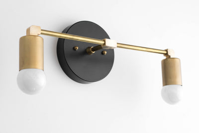 Vanity Light Fixture - Bathroom Sconce - Vanity Lighting - Brass Black Vanity -  Mid Century Modern Fixture - Contemporary Lighting