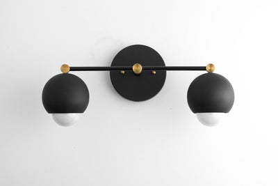 Black Modern Light - Black Gold Vanity - Mid-Century Vanity - Bathroom Sconce - Black Modern Fixture - Black Orb Light - Model No. 4208
