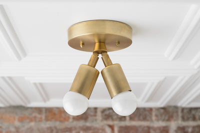 Modern Ceiling Lamp - Minimalist Light - Flush Fixture - Gold Brass Light - Mid Century Lighting - Model No. 6617