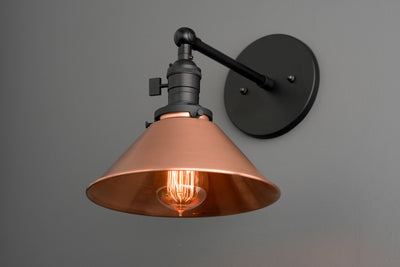 Copper Wall Sconce - Industrial Lamp - Black Sconce - Industrial Fixture - Wall Sconces - Wall Lamp