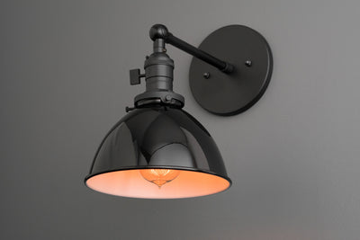 Sconce - Industrial Lamp - Bathroom Lighting - Industrial Furniture - Black Shade - Modern Sconces- Black Wall Sconce - Bedside Light