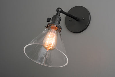 Wall Lamp - Wall Vanity Light - Sconces - Industrial Fixture - Clear Cone Shade - Adjustable Sconce