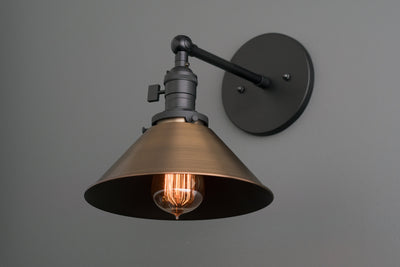 Industrial Lighting - Antique Brass Light - Wall Lighting - Bathroom Sconce - Rustic Lighting - Adjustable Light