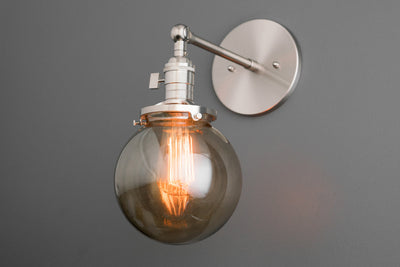 Sconce Light - Smoked Globe Light - Globe Wall Light - Lighting Fixtures - Industrial Bathroom - Farmhouse Lighting - Model No. 2435