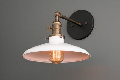 Industrial Wall Lamp - Bathroom Light - White Nickel Sconce - White Lighting - Adjustable Lighting - Wall Lamp - Industrial Lighting