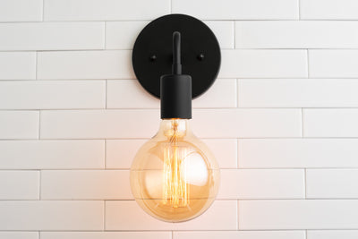 Sconce - Simple Wall Light - Industrial Sconce - Wall Light - Rustic Lighting - Bedroom Wall Light - Bare Bulb Sconce - Edison Bulb Light