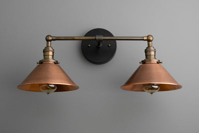 Copper Vanity Light - Industrial Bathroom - Industrial Decor - Light Fixture - Vanity Lighting - 2 Bulb Sconce - Utility Style Light