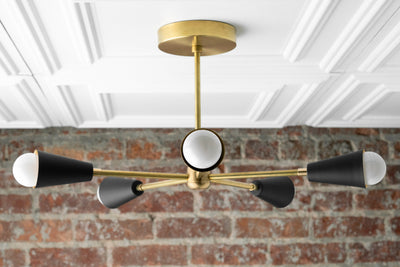 Gold Sputnik Light - Geometric Chandelier - Semi Flush - Modern Chandelier - Brass Fixture - Model No. 1126