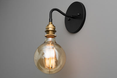 Industrial Sconce - Rustic Lighting - Wall Sconce - Industrial Lamp - Brushed Brass - Steampunk Lighting - Edison Lamp - Bare bulb Light
