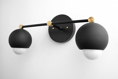 Black Modern Light - Black Mirror Light - Black Gold Vanity - Mid-Century Vanity - Bathroom Sconce - Black Modern Fixture - Black Orb Light