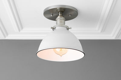 Light Fixture - Semi Flush Light - Farmhouse Lighting - Ceiling Light - Industrial Lighting - Brushed Nickel - Kitchen Lighting - Lighting