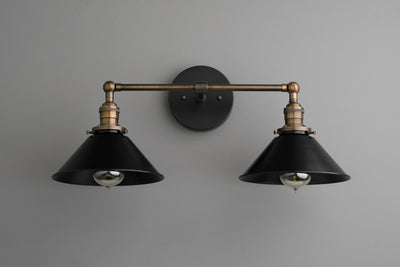 Black Vanity Light - Industrial Chic - Wall Light - Industrial Lighting - Light Fixture - Black Mirror Light - Farm Light - Model No. 1802