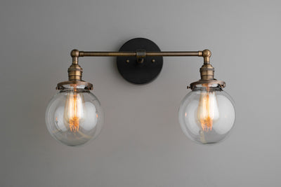 Clear Globe Light - Globe Vanity Light - Black Light Fixture - Bathroom Lighting - Farmhouse Light - Industrial Light - Vanity Lighting