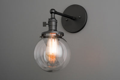 Black Vanity Lamp - Globe Sconce - Industrial Fixture - Edison Sconce - Clear Globe Light