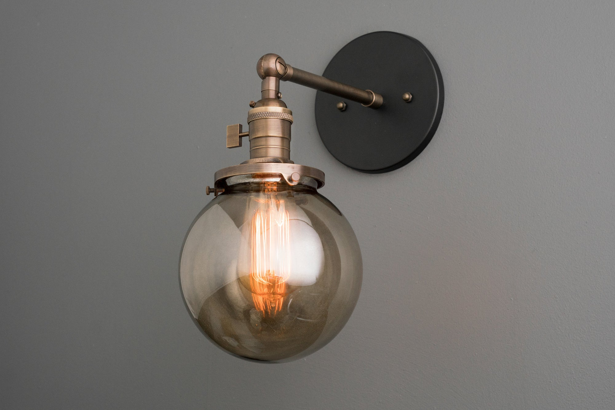 Sconce light smoked globe light globe wall light lighting fixtur peared creation