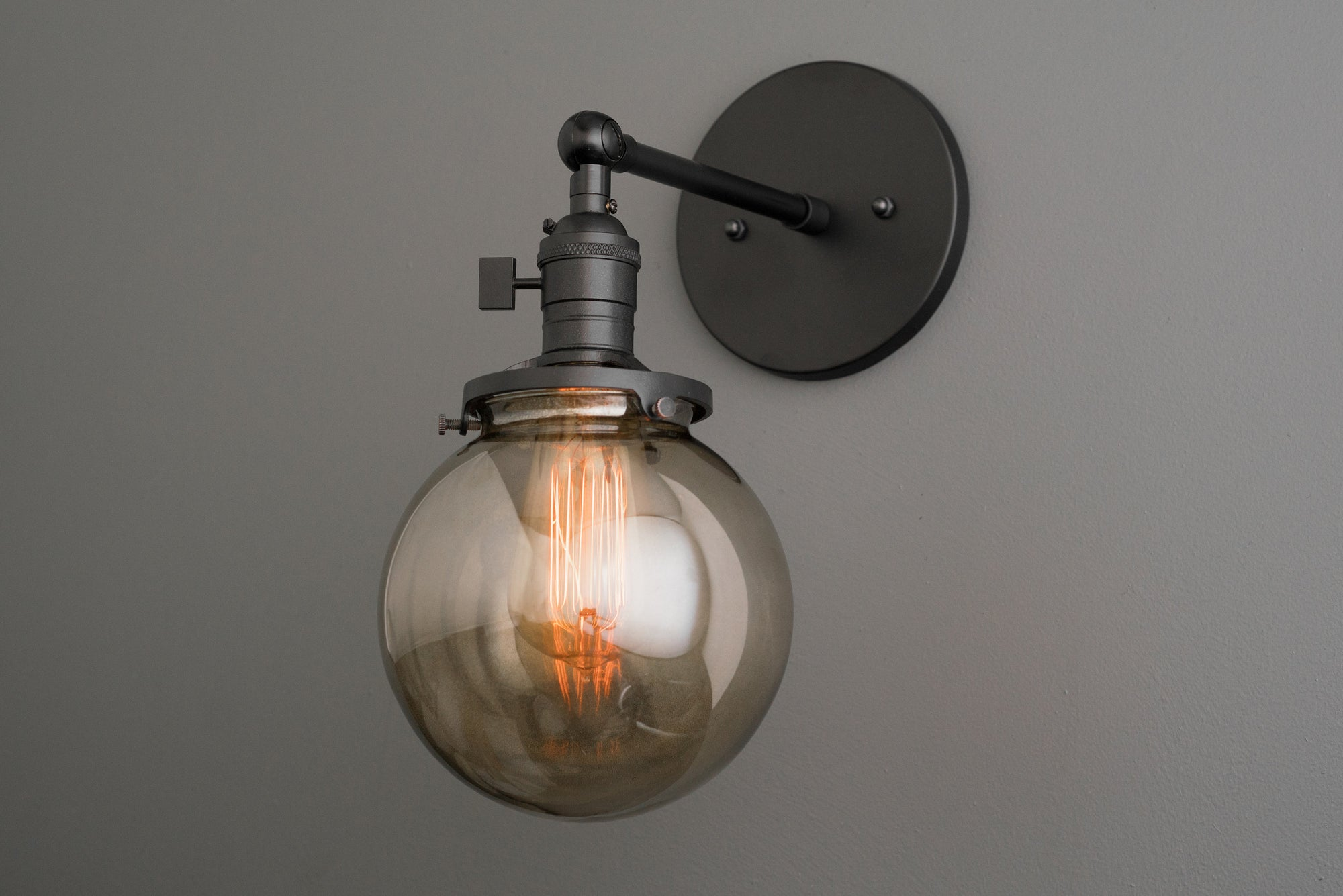 cheap for discount fcac3 5541b Sconce Light - Smoked Globe Light - Globe Wall Light - Lighting Fixtures -  Industrial Bathroom - Interior Wall Sconce - Farmhouse Lighting