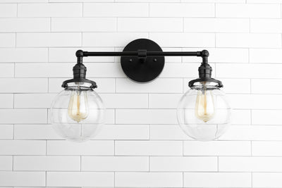 Clear Globe Light - Globe Vanity Light - Black Light Fixture - Bathroom Lighting - Farmhouse Light - Industrial Light - Model No. 5657